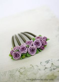 violet rose hair stick, hair accessories ,hair combs , bronze, polymer clay flower, handmade jewelry, gift for her