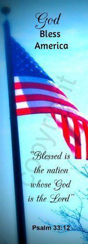 "Blue Patriotic Flag God Bless America Jumbo Bookmarks Psalm 33:12 (50 Pack) 8.5"""