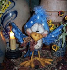 "Primitive Robin Canary Blue Bird Fuzzy 7"" Bear Doll Vtg Patti's Ratties Ornie"