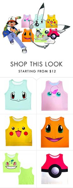 """Pokemon Crop T-shirts"" by custardandfishsticks ❤ liked on Polyvore"