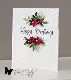 Tuesday, April 8, 2014 Diana Nguyen, CAS, birthday card Darise chevron embossing folder, flower punches
