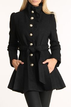 Bebe Boucle Ruffle Placket Wool Coat