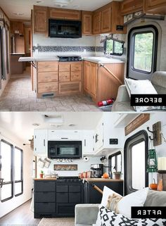 Thinking about updating the kitchen in your camper? Come see how we made a huge impact in our motorhome w Thinking about updating the kitchen in your camper? Come see how we made a huge impact in our motorhome with our RV kitchen renovation! Cheap Campers, Rv Campers, Camper Trailers, Camper Interior Design, Rv Homes, Travel Trailer Remodel, Camper Renovation, Rv Interior Remodel, Camper Makeover