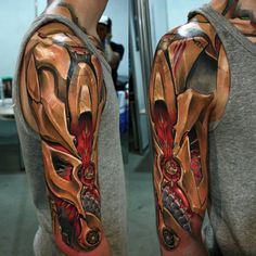 Great cyborg/armor tattoo. Looks so great.