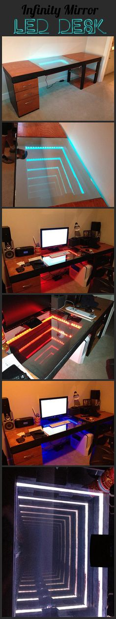 Here is an awesome infinity mirror computer desk.