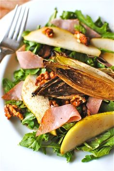 Fall Salad with Prosciutto, Pear and Roasted Endive. And Candied Walnuts. - Bev Cooks