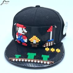 10b2e7a4e2e Super Mario Mosaic DIY Outdoor Hip Hop street trend fashion hand gorras adjustable  men women Snapback Hat Black Baseball Cap-in Baseball Caps from Men s ...