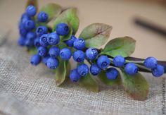 Купить Ободок для волос с черникой - черника, ягоды, летнее украшение, лесные ягоды, северные ягоды