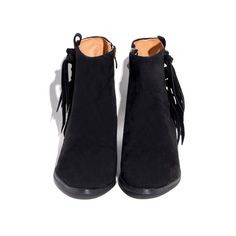Black Suede Fringe Booties (€72) ❤ liked on Polyvore featuring shoes, boots, ankle booties, black booties, black ankle booties, suede boots, black fringe booties and fringe boots