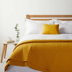 BuyHouse by John Lewis Jersey Bedspread, Mustard Online at johnlewis.com