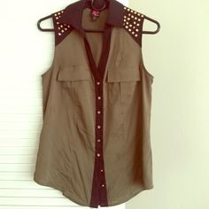 Bebe tank top USED- Good condition, missing a couple studs, forest green, gold studs and buttons, collared, size xsmall bebe Tops Tank Tops