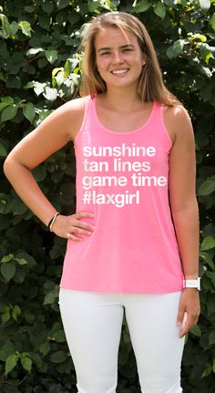 Sunshine, tan lines, game time! Rock your lacrosse pride all spring and summer long with this fun relaxed fit tank top!