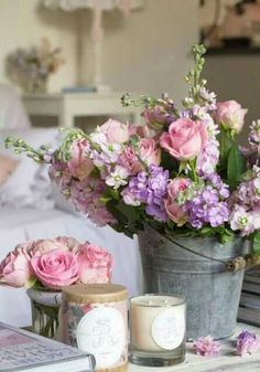 Fresh roses in an English cottage room.
