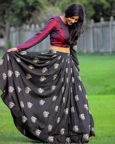Trendy skirt and crop top indian maroon ideas you are in the right place about women top dressy here we offer you the most beautiful pictures about th Half Saree Designs, Lehenga Designs, Blouse Designs, Lehnga Dress, Lehenga Blouse, Lehenga Choli, Sarees, Indian Gowns Dresses, Indian Outfits