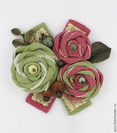 """Купить Брошь """"Ароматы трав"""" - брошь, текстильная брошь, брошка, Текстильная брошка, брошь цветы"""