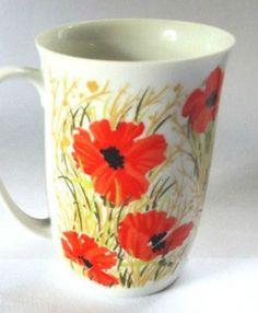 Fitz + Floyd Coffee Mug Floral Poppy Red Flowers Neiman Marcus FF Beverage Cup #FitzFloyd #Floral