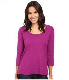 Mod-o-doc - Slub Jersey 3/4 Sleeve Scoopneck Tee (Dark Fuschia) Women's Long Sleeve Pullover