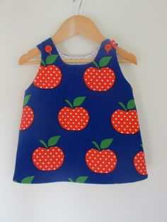 Children clothing - dress girl baby toddler pinny Red Apple dress..sizes 6months, 1 2 3 4 5 kids children clothing dress girlsandboys. $28.00, via Etsy.