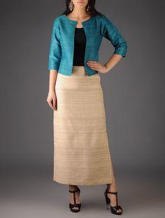 Turquoise Ghicha Silk Jacket Indian Prom Dresses, Indian Long Dress, Pakistani Dresses Casual, Kurti Neck Designs, Kurta Designs Women, Kurti Designs Party Wear, Blouse Designs, Office Wear Dresses, Office Outfits Women
