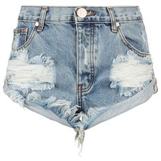 One Teaspoon Bandit Distressed Denim Shorts ($115) ❤ liked on Polyvore featuring shorts, bottoms, pants, short, ripped denim shorts, torn shorts, destroyed shorts, vintage jean shorts and jean shorts