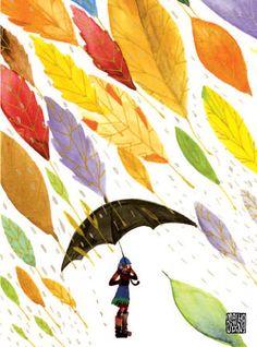 """Leafrain"", Masha D'yans watercolor"
