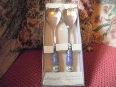 Pfaltzgraff Summer Breeze Hand Decorated Salad Server Set New in Original Box #Pfaltzgraff