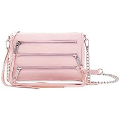 Rebecca Minkoff Malaga Zip Leather Crossbody (£76) ❤ liked on Polyvore featuring bags, handbags, shoulder bags, blush, pink leather handbag, rebecca minkoff crossbody, leather crossbody purse, leather shoulder bag and chain strap crossbody