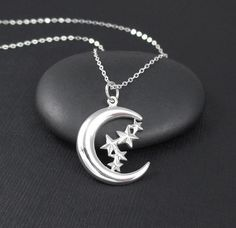 Moon and Stars Necklace Sterling Silver Stars and Crescent Moon Charm Pendant, Celestial Jewelry