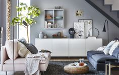 IKEA BESTÅ closed storage cabinets just got a modern style upgrade. Check out this mother and daughter's living room, which is organised to the tee. Ikea Living Room, Living Room Storage, Small Living Rooms, Living Room Furniture, Modern Living, Corner Furniture, Dining Room, Minimalist Living, Cozy Living