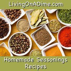 Homemade Seasonings Recipes - seasoned salt, house seasoning, taco seasoning, Italian seasoning, poultry seasoning, and fajita seasoning mix.