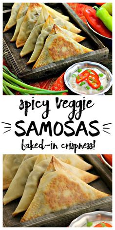 Spicy Veggie Samosas are baked to crispy perfection! Way easier than traditional samosas. Make vegan/dairy free with spring roll wrappers easily found in Asian markets and specialty stores. recipe | indian | vegetable | potato