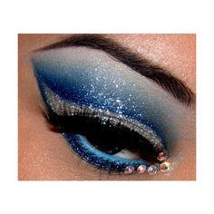 Eye Makeup / Blue + Silver Glittery Eyeshadow with Rhinestones found on Polyvore