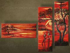 Ručne maľovaný obraz AFRIKA 3 dielny  2340FA