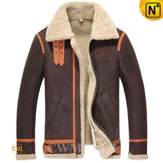 CWMALLS Sheepskin Shearling Aviator Jacket CW857195 Keep out the cold in this extra soft, brown sheepskin and natural shearling bomber aviator jacket, featuring a double buckled collar, printed plane pattern on back, buckle leather tab on bottom, leather piping, shearling trimmed cuff and bottom. www.cwmalls.com PayPal Available (Price: $1557.89) Email:sales@cwmalls.com