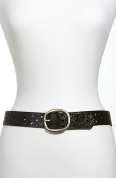 Fossil Perforated Leather Belt available at #Nordstrom in brown