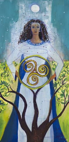 Danu is said to have literally suckled the gods. In Irish mythology, she is mother of the earth, the gods, fertility, wisdom, wind and of all the Celtic people. The story of Danu lingers with her offspring, Tuatha De Danann, or people of the goddess Danu, who in Irish folklore are known as the fairy people who are skilled in magic. Art: Danu, Celtic Mother Goddess by Judith Shaw |