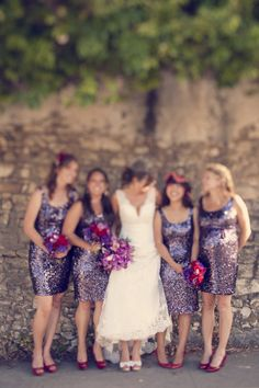 Red and purple with light/neutral dress