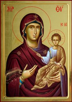 Hodigitria icon - She Who Shows the Way. Byzantine Icons, Byzantine Art, Blessed Mother Mary, Blessed Virgin Mary, Religious Icons, Religious Art, Roman Church, Orthodox Icons, Mother And Child