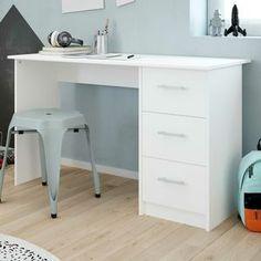 Bureau Infinity (wit) uit spaanplaat, voorzien van 3 lades. Betta, Office Desk, Corner Desk, Furniture, Home Decor, Products, Corner Table, Desk Office, Decoration Home