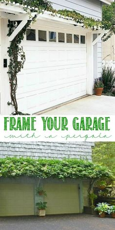 Frame your garage with pergola and greenery! Curb Appeal Hacks and Tips - Frugal Home Ideas to Increase Your Home Value. Update the appearance for your home for little expense on Frugal Coupon Living.