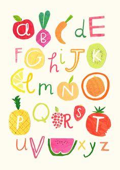 Simple and sweet---Hannah Tolson - Fruity & Veg Alphabet Alphabet A, Alphabet Poster, Food Illustrations, Illustration Art, Types Of Lettering, Typography Design, Bridal Showers, Creative, Prints