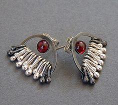 Sterling Silver Post Earrings with Garnet EG3 by Kailajewellery, £55.00