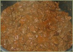 Hungarian Beef stew with paprika. This is traditional food in my country. And I like it!