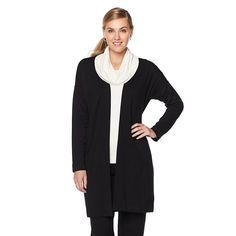Jones New York Brushed Jersey Open Cardigan with Pockets -