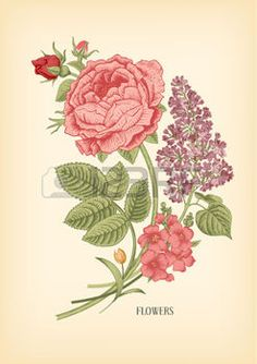 Vintage card with floral drawn Victorian bouquet of roses and lilac on a beige background. Vector design element. photo