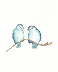 Blue Sparrows and Nest/ Nest with 3 blue eggs / Watercolor Prints / 2 for 35.00…