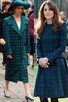 Diana in a coat by the Emanuels while touring Venice with Charles in 1985; Kate wears Alexander McQueen while visiting St Andrew's School, her alma mater, in November 2012.