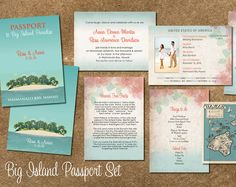 Vintage Palm Tree Destination Passport to Paradise Invitations, Save the Dates and Luggage tag reply cards.  Main passport invitation and Luggage Tag Reply cards and accompanied with Save the Date too. Can use the entire set or break up if you only wanted the passports and reply cards or save the date on its own and you can switch the passport to an itinerary style instead of using as main invite. Lots of choices and stationery ideas here! Also wherever your wedding is taking place can be…
