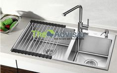 800 * 450 * undercounter kitchen sinks made of stainless steel double bowl … - Modern Steel Kitchen Sink, Double Bowl Kitchen Sink, Stainless Steel Kitchen, New Kitchen, Kitchen Sinks, Kitchen Redo, Kitchen Ideas, Kitchen Faucet Reviews, Cheap Kitchen Faucets