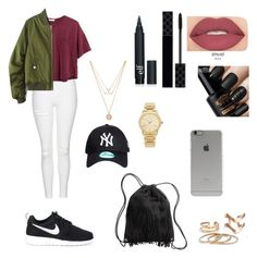"""Untitled #339"" by ajna-bajrami ❤ liked on Polyvore featuring beauty, Topshop, H&M, Madewell, NIKE, Michael Kors, Forever 21, Incase, Smashbox and Gucci"